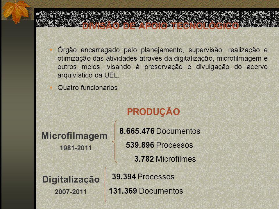8.665.476 Documentos 539.896 Processos 3.782 Microfilmes Microfilmagem 1981-2011 Digitalização 2007-2011 39.394 Processos 131.369 Documentos DIVISÃO DE APOIO TECNOLÓGICO Órgão encarregado pelo planejamento, supervisão, realização e otimização das atividades através da digitalização, microfilmagem e outros meios, visando à preservação e divulgação do acervo arquivístico da UEL.