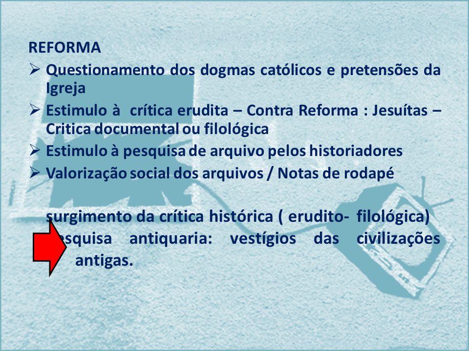 REFORMA Questionamento dos dogmas católicos e pretensões da Igreja Estimulo à crítica erudita – Contra Reforma : Jesuítas – Critica documental ou filo