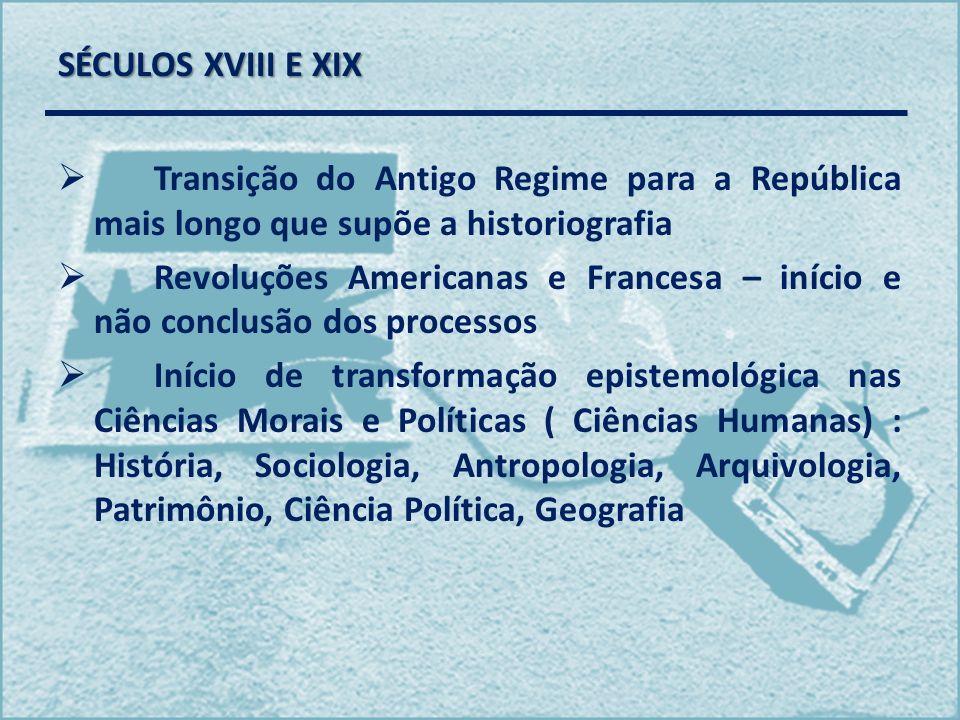 SÉCULOS XVIII E XIX Transição do Antigo Regime para a República mais longo que supõe a historiografia Revoluções Americanas e Francesa – início e não