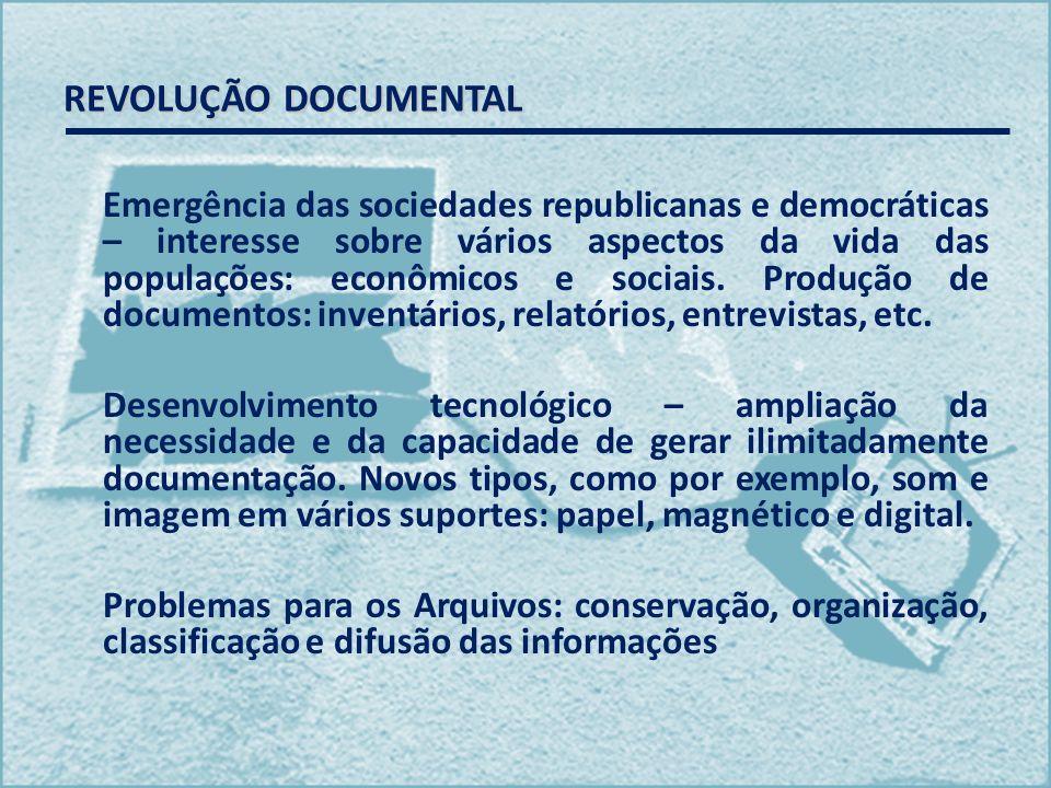 REVOLUÇÃO DOCUMENTAL Emergência das sociedades republicanas e democráticas – interesse sobre vários aspectos da vida das populações: econômicos e soci