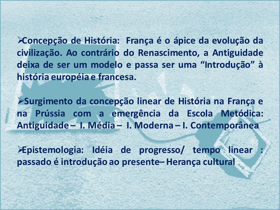 Concepção de História: França é o ápice da evolução da civilização. Ao contrário do Renascimento, a Antiguidade deixa de ser um modelo e passa ser uma