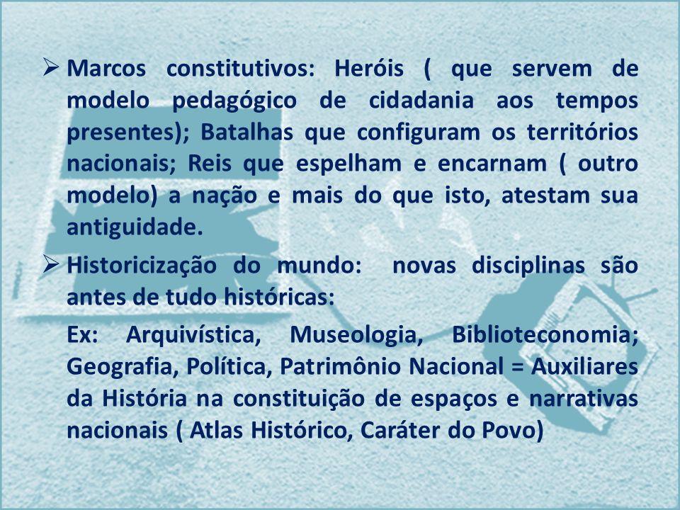 Marcos constitutivos: Heróis ( que servem de modelo pedagógico de cidadania aos tempos presentes); Batalhas que configuram os territórios nacionais; R
