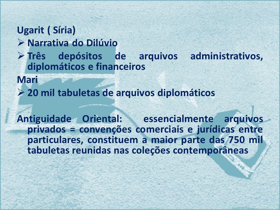 Ugarit ( Síria) Narrativa do Dilúvio Três depósitos de arquivos administrativos, diplomáticos e financeiros Mari 20 mil tabuletas de arquivos diplomát