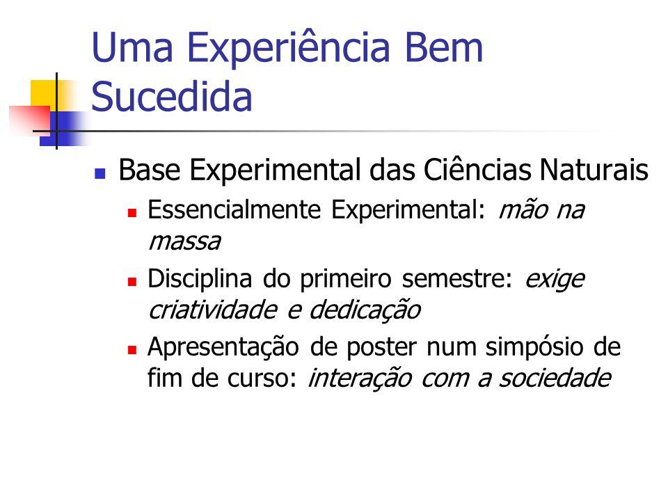 Uma Experiência Bem Sucedida Base Experimental das Ciências Naturais Essencialmente Experimental: mão na massa Disciplina do primeiro semestre: exige