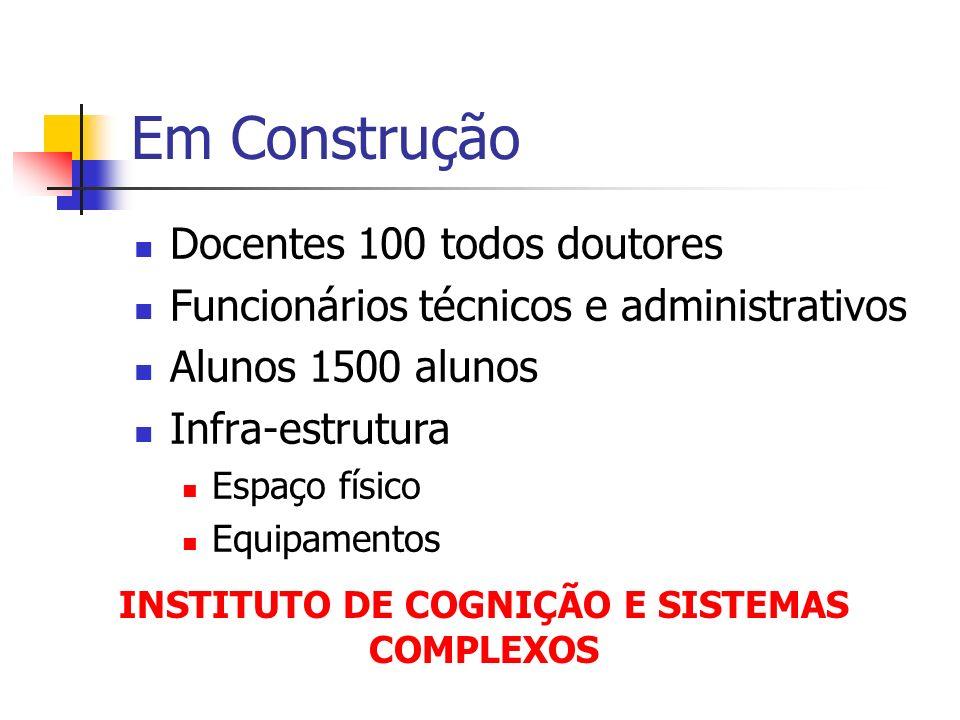 Em Construção Docentes 100 todos doutores Funcionários técnicos e administrativos Alunos 1500 alunos Infra-estrutura Espaço físico Equipamentos INSTIT