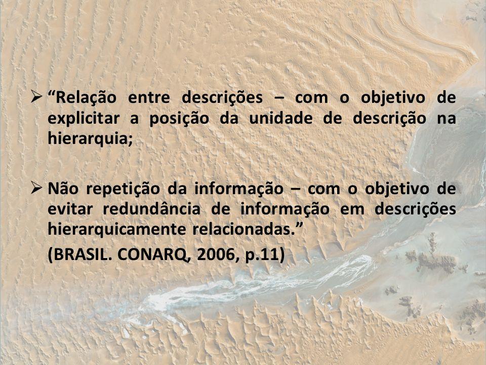 Relação entre descrições – com o objetivo de explicitar a posição da unidade de descrição na hierarquia; Não repetição da informação – com o objetivo