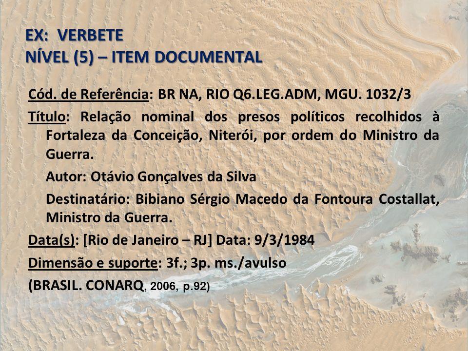 EX: VERBETE NÍVEL (5) – ITEM DOCUMENTAL Cód. de Referência: BR NA, RIO Q6.LEG.ADM, MGU. 1032/3 Título: Relação nominal dos presos políticos recolhidos