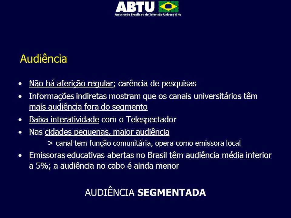 Audiência Não há aferição regular; carência de pesquisas Informações indiretas mostram que os canais universitários têm mais audiência fora do segment