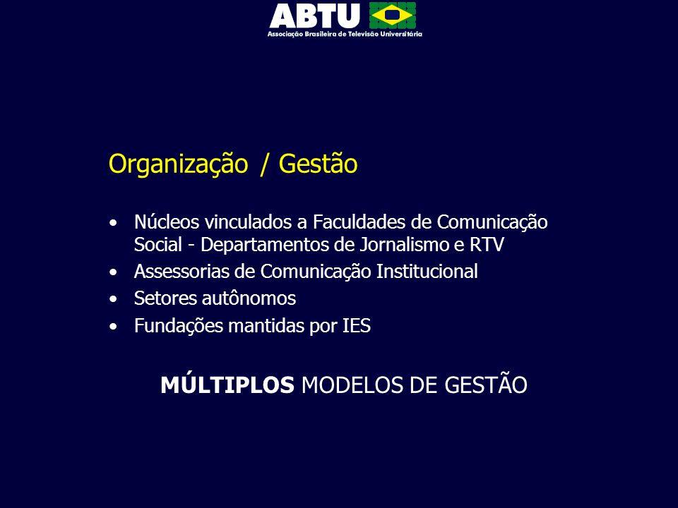 Organização / Gestão Núcleos vinculados a Faculdades de Comunicação Social - Departamentos de Jornalismo e RTV Assessorias de Comunicação Instituciona