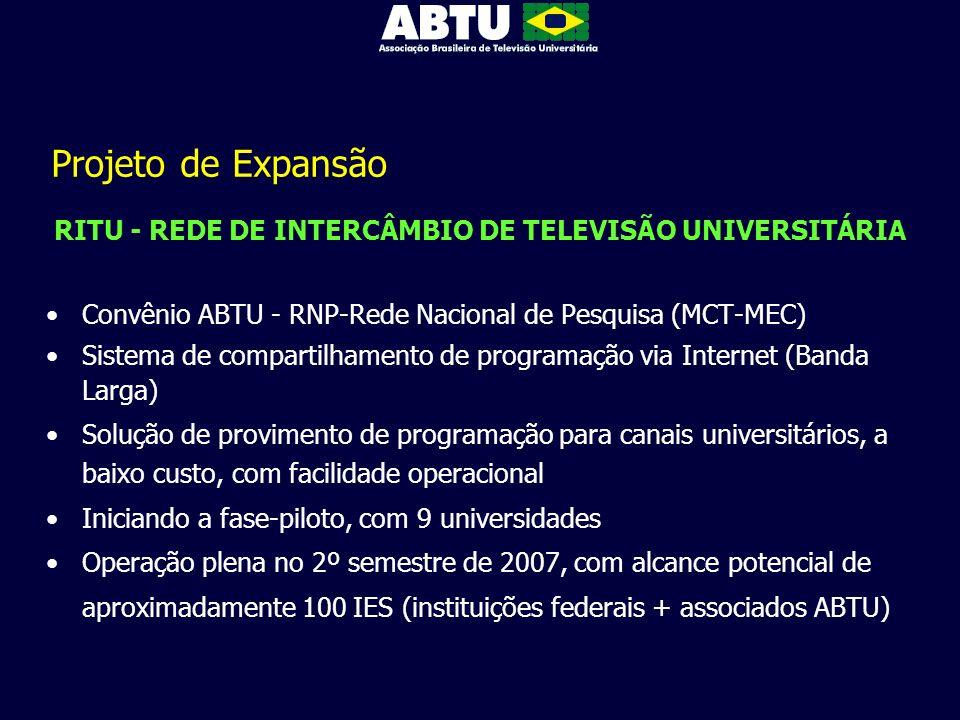 Projeto de Expansão RITU - REDE DE INTERCÂMBIO DE TELEVISÃO UNIVERSITÁRIA Convênio ABTU - RNP-Rede Nacional de Pesquisa (MCT-MEC) Sistema de compartil