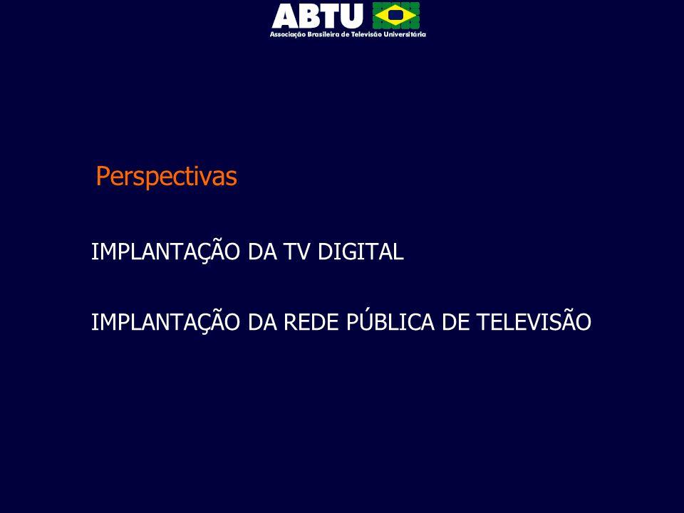Perspectivas IMPLANTAÇÃO DA TV DIGITAL IMPLANTAÇÃO DA REDE PÚBLICA DE TELEVISÃO