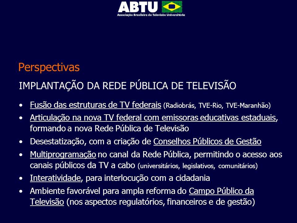 Perspectivas IMPLANTAÇÃO DA REDE PÚBLICA DE TELEVISÃO Fusão das estruturas de TV federais (Radiobrás, TVE-Rio, TVE-Maranhão) Articulação na nova TV fe