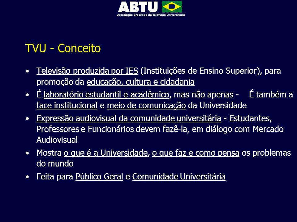 TVU - Conceito Televisão produzida por IES (Instituições de Ensino Superior), para promoção da educação, cultura e cidadania É laboratório estudantil