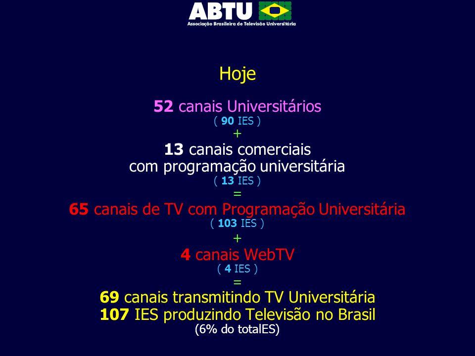 Hoje 52 canais Universitários ( 90 IES ) + 13 canais comerciais com programação universitária ( 13 IES ) = 65 canais de TV com Programação Universitár