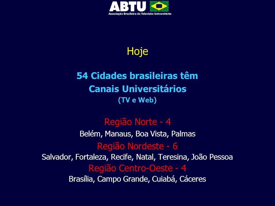 Hoje 54 Cidades brasileiras têm Canais Universitários (TV e Web) Região Norte - 4 Belém, Manaus, Boa Vista, Palmas Região Nordeste - 6 Salvador, Forta