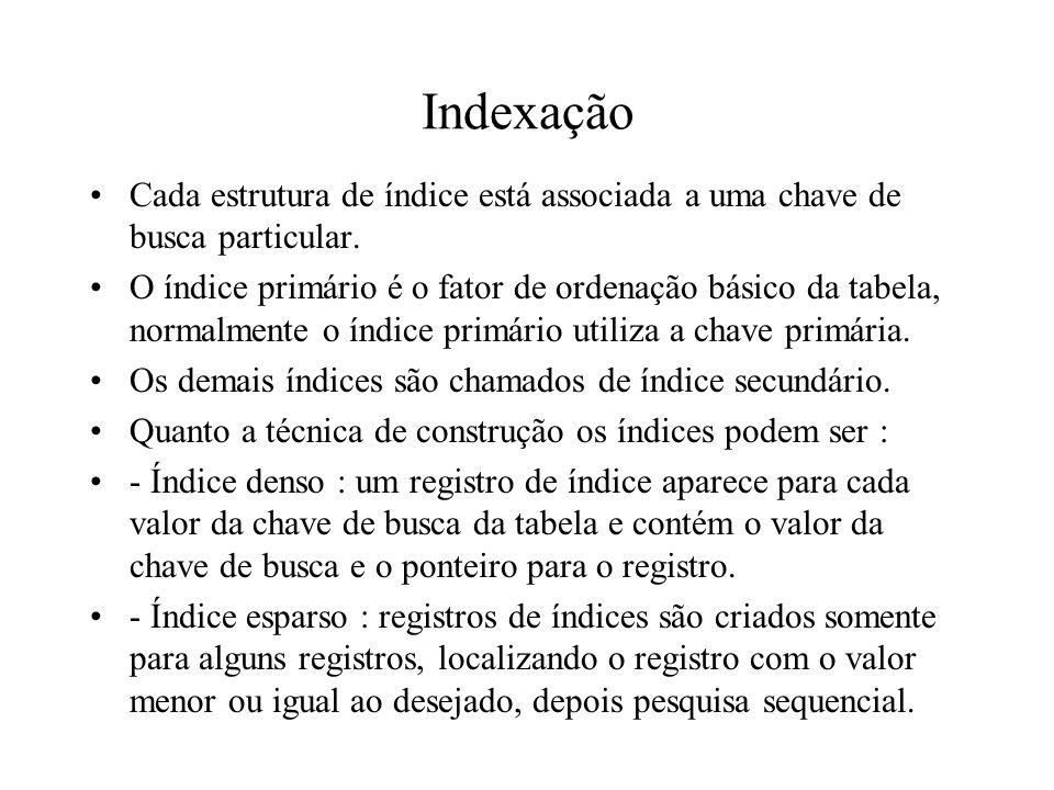 Indexação Cada estrutura de índice está associada a uma chave de busca particular. O índice primário é o fator de ordenação básico da tabela, normalme