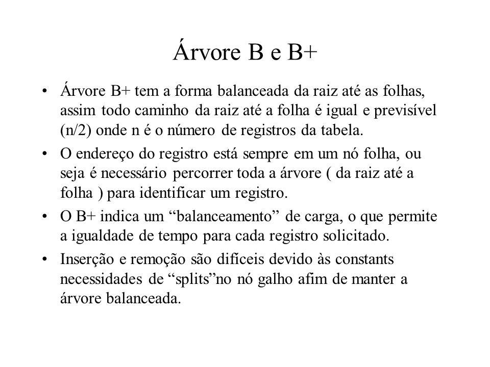 Árvore B e B+ Árvore B+ tem a forma balanceada da raiz até as folhas, assim todo caminho da raiz até a folha é igual e previsível (n/2) onde n é o núm