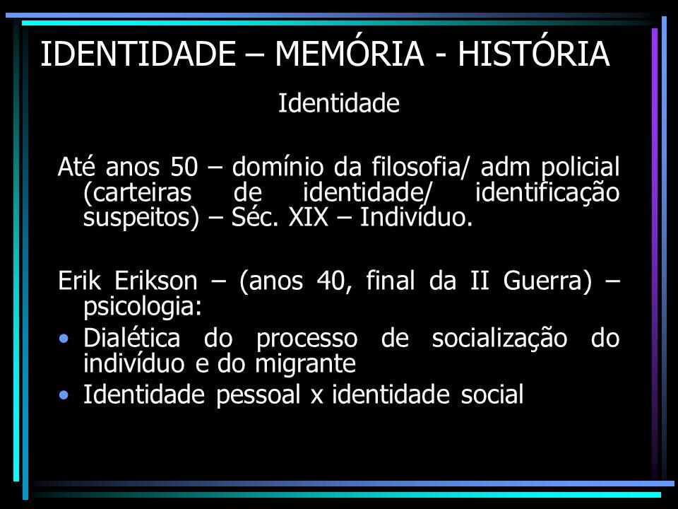 IDENTIDADE – MEMÓRIA - HISTÓRIA Identidade Até anos 50 – domínio da filosofia/ adm policial (carteiras de identidade/ identificação suspeitos) – Séc.
