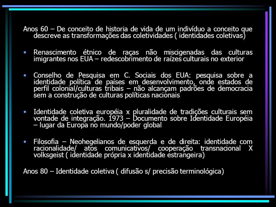Anos 60 – De conceito de historia de vida de um indivíduo a conceito que descreve as transformações das coletividades ( identidades coletivas) Renasci