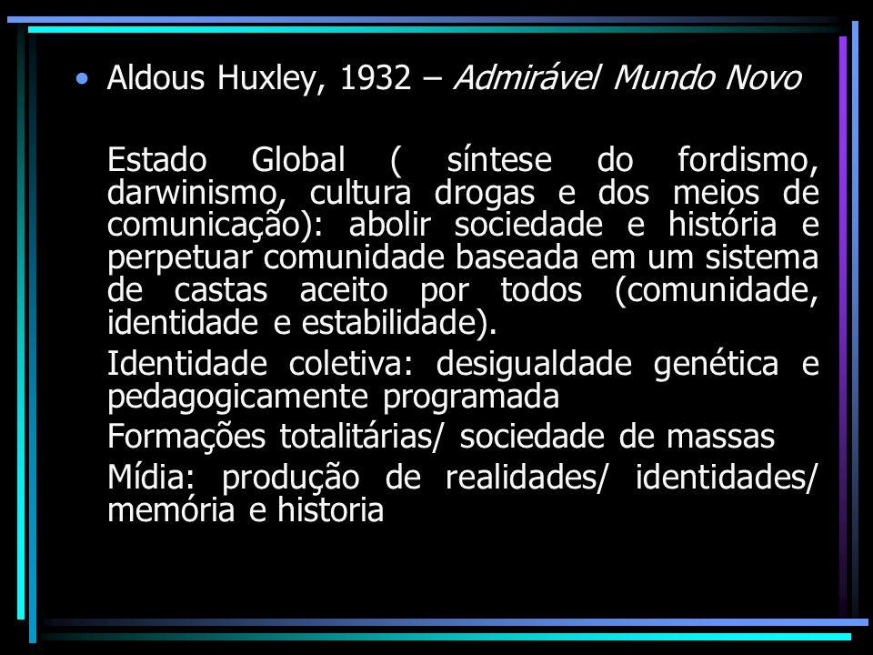 Aldous Huxley, 1932 – Admirável Mundo Novo Estado Global ( síntese do fordismo, darwinismo, cultura drogas e dos meios de comunicação): abolir socieda