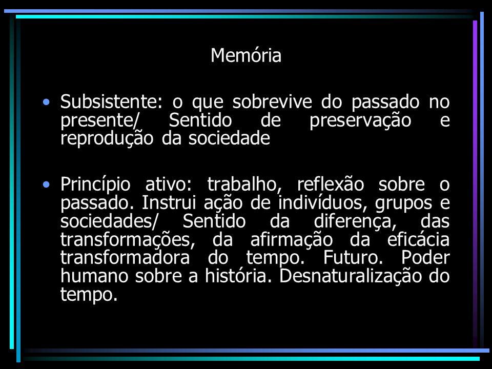 Memória Subsistente: o que sobrevive do passado no presente/ Sentido de preservação e reprodução da sociedade Princípio ativo: trabalho, reflexão sobr