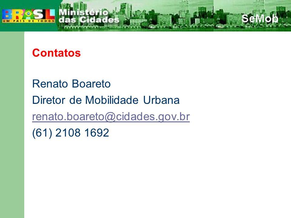 Contatos Renato Boareto Diretor de Mobilidade Urbana renato.boareto@cidades.gov.br (61) 2108 1692