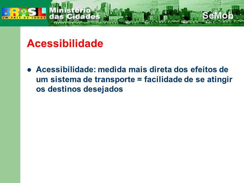 Acessibilidade Acessibilidade: medida mais direta dos efeitos de um sistema de transporte = facilidade de se atingir os destinos desejados