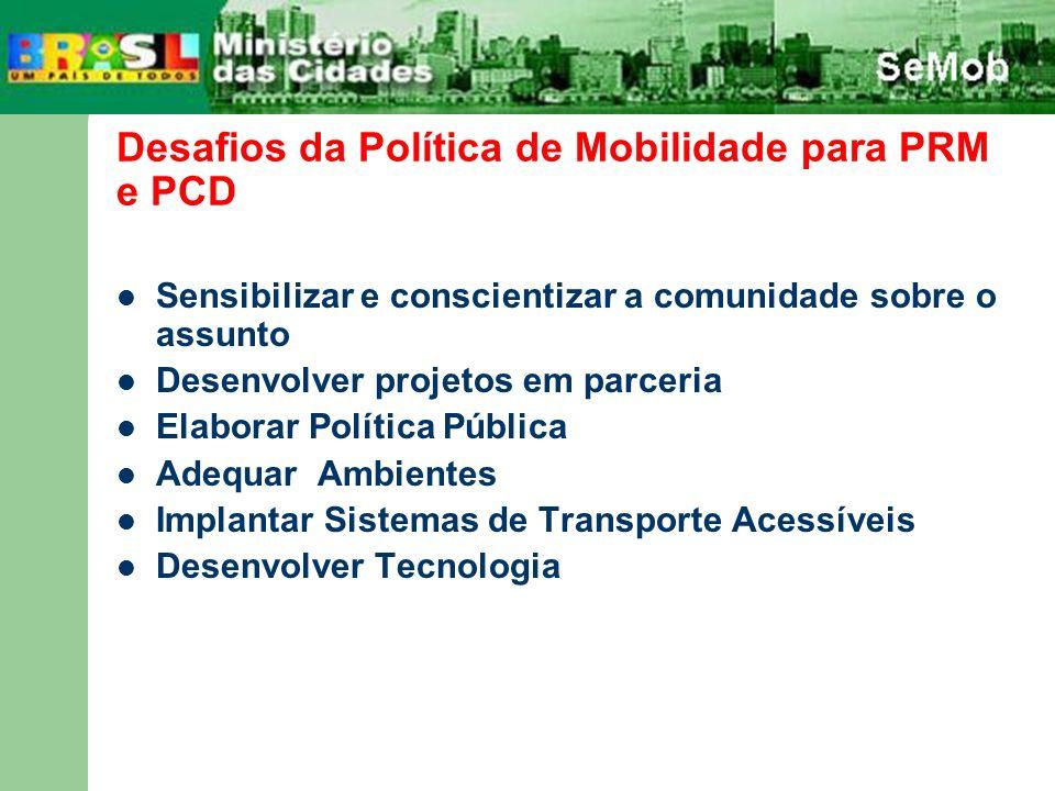 Desafios da Política de Mobilidade para PRM e PCD Sensibilizar e conscientizar a comunidade sobre o assunto Desenvolver projetos em parceria Elaborar