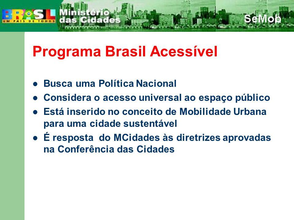 Programa Brasil Acessível Busca uma Política Nacional Considera o acesso universal ao espaço público Está inserido no conceito de Mobilidade Urbana pa
