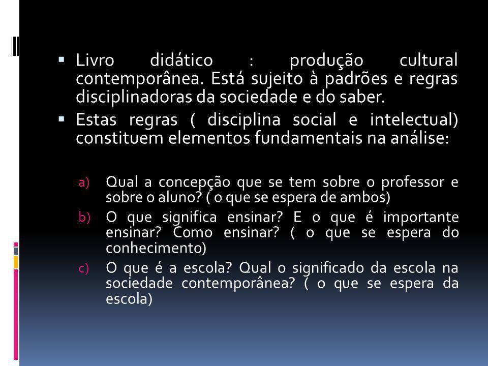 Livro didático : produção cultural contemporânea. Está sujeito à padrões e regras disciplinadoras da sociedade e do saber. Estas regras ( disciplina s