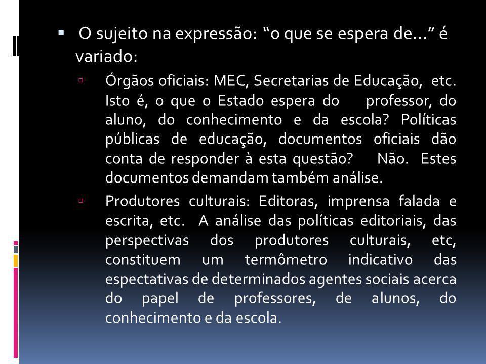 O sujeito na expressão: o que se espera de... é variado: Órgãos oficiais: MEC, Secretarias de Educação, etc. Isto é, o que o Estado espera do professo