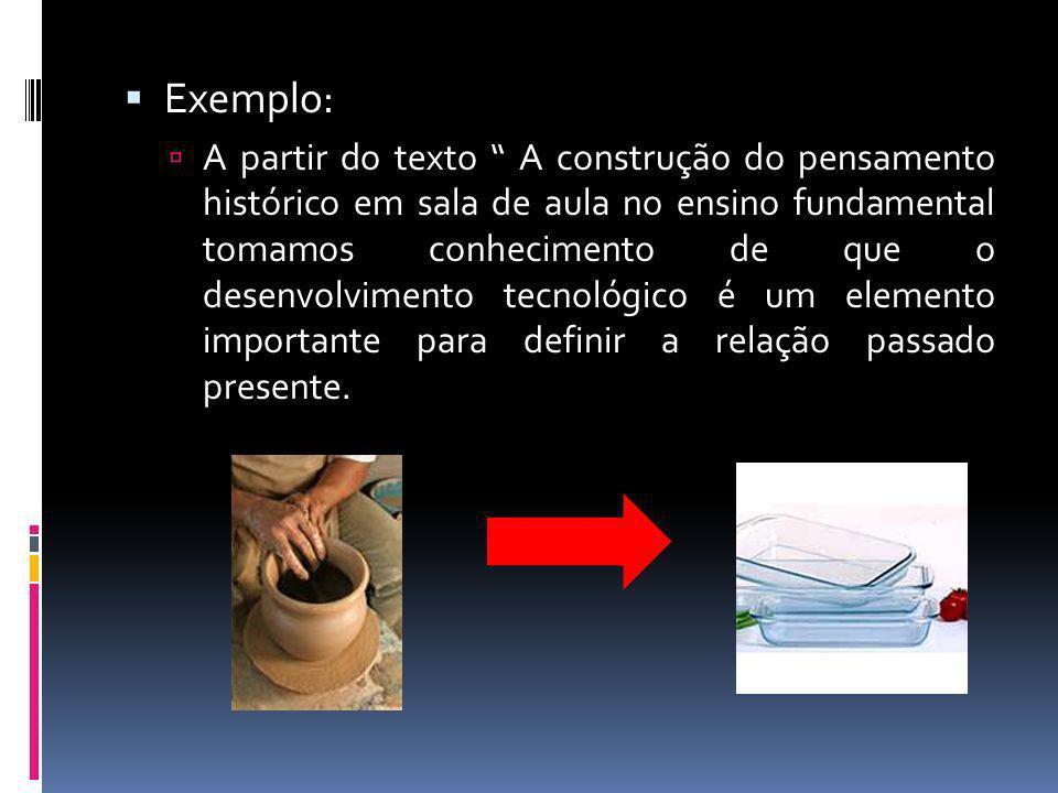 Exemplo: A partir do texto A construção do pensamento histórico em sala de aula no ensino fundamental tomamos conhecimento de que o desenvolvimento te