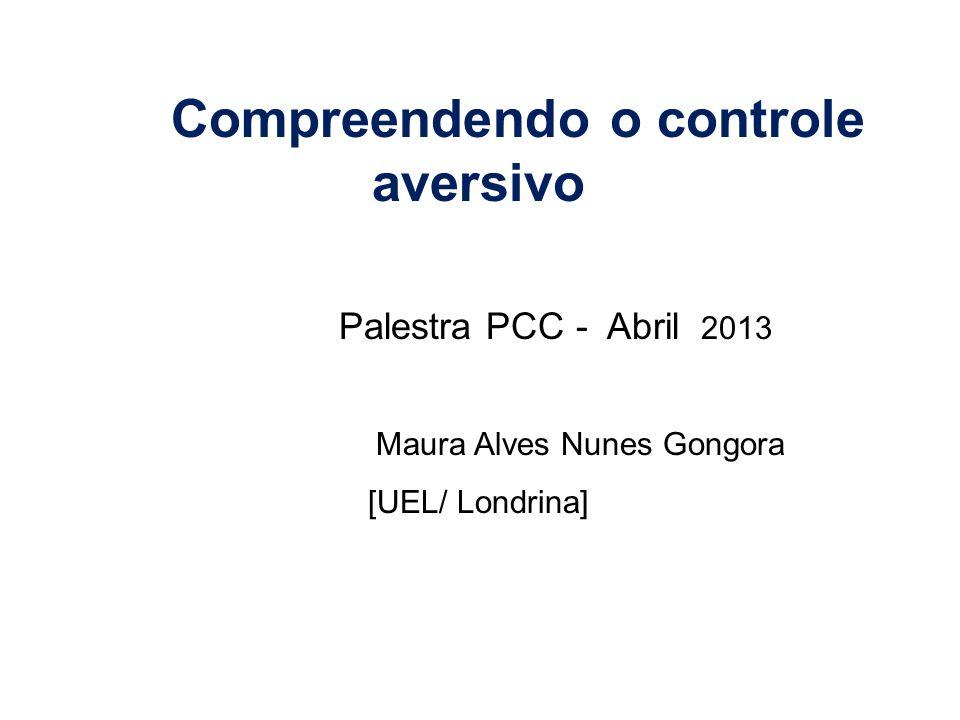 Compreendendo o controle aversivo Palestra PCC - Abril 2013 Maura Alves Nunes Gongora [UEL/ Londrina]