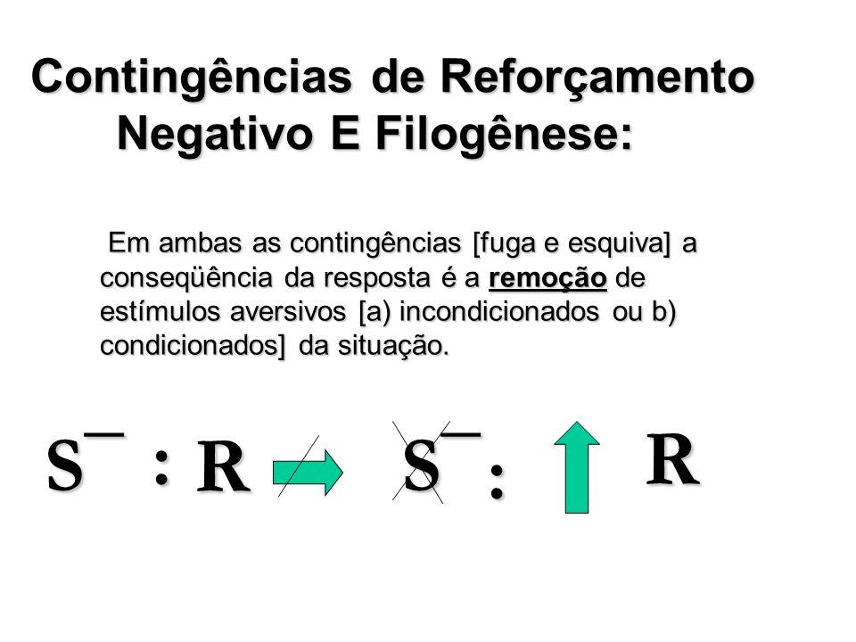 Contingências de Reforçamento Negativo E Filogênese: Em ambas as contingências [fuga e esquiva] a conseqüência da resposta é a remoção de estímulos av