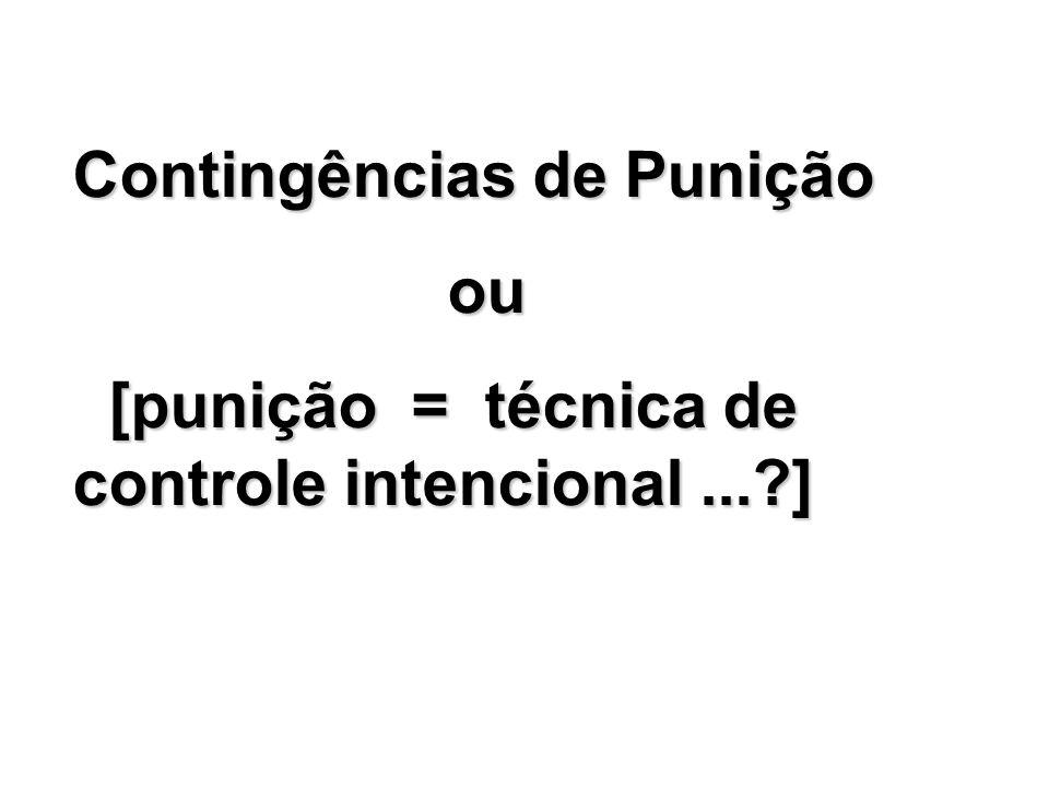 Contingências de Punição ou ou [punição = técnica de controle intencional...?] [punição = técnica de controle intencional...?]
