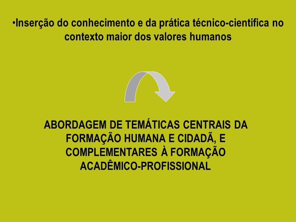 Inserção do conhecimento e da prática técnico-cientifica no contexto maior dos valores humanos ABORDAGEM DE TEMÁTICAS CENTRAIS DA FORMAÇÃO HUMANA E CIDADÃ, E COMPLEMENTARES À FORMAÇÃO ACADÊMICO-PROFISSIONAL
