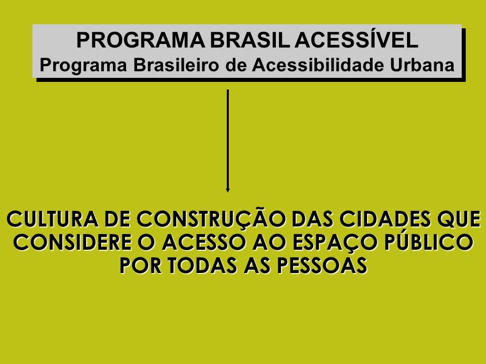CULTURA DE CONSTRUÇÃO DAS CIDADES QUE CONSIDERE O ACESSO AO ESPAÇO PÚBLICO POR TODAS AS PESSOAS PROGRAMA BRASIL ACESSÍVEL Programa Brasileiro de Acessibilidade Urbana PROGRAMA BRASIL ACESSÍVEL Programa Brasileiro de Acessibilidade Urbana