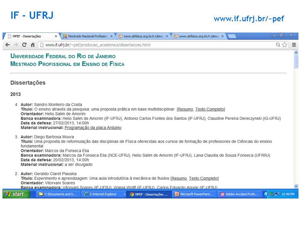www.if.ufrj.br/~pef IF - UFRJ