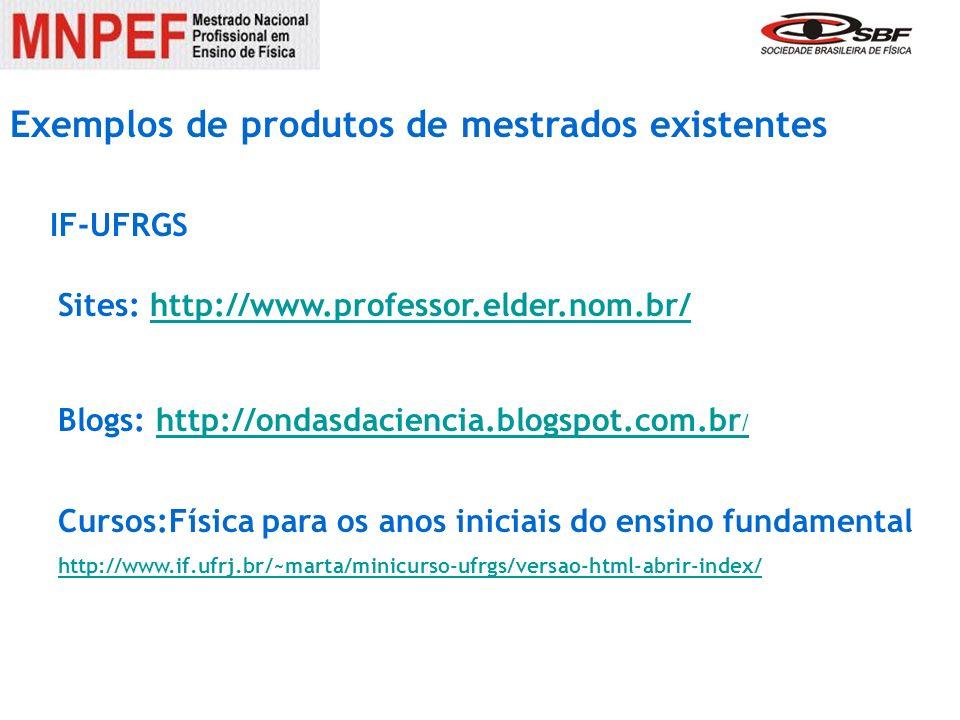 Exemplos de produtos de mestrados existentes Sites: http://www.professor.elder.nom.br/http://www.professor.elder.nom.br/ Blogs: http://ondasdaciencia.