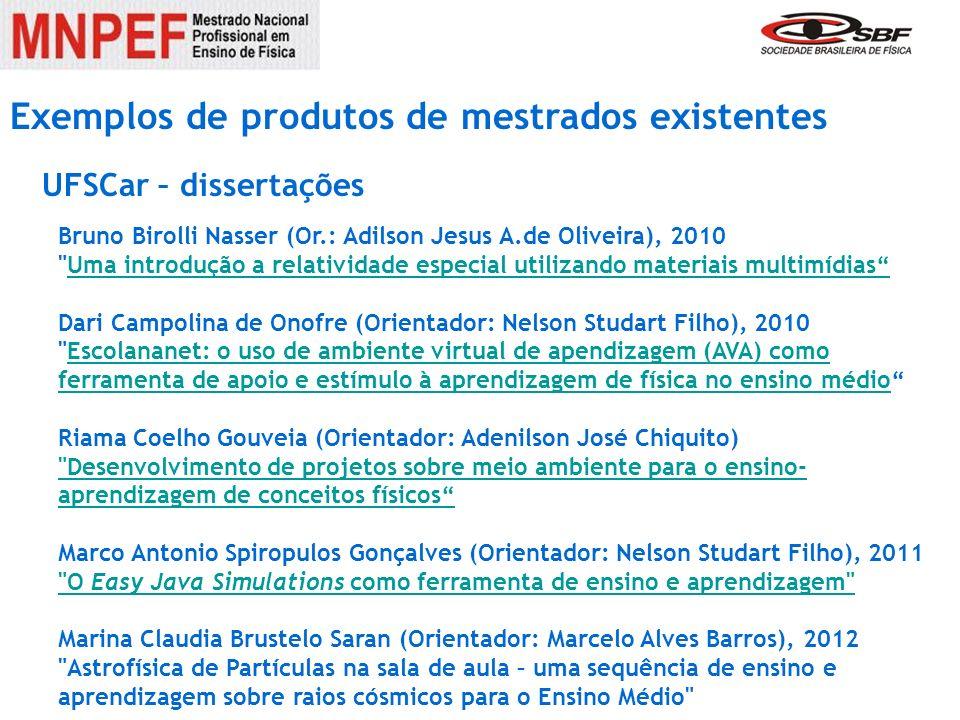Exemplos de produtos de mestrados existentes Bruno Birolli Nasser (Or.: Adilson Jesus A.de Oliveira), 2010