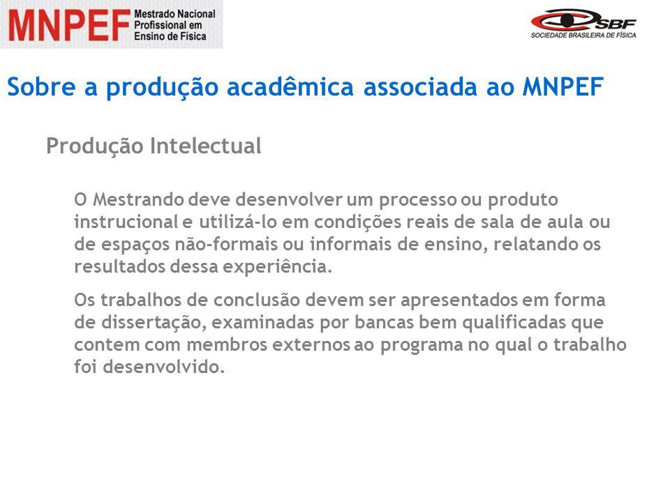 Sobre a produção acadêmica associada ao MNPEF Produção Intelectual O Mestrando deve desenvolver um processo ou produto instrucional e utilizá-lo em co