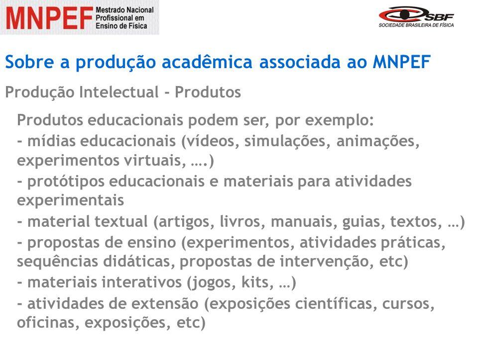 Sobre a produção acadêmica associada ao MNPEF Produção Intelectual - Produtos Produtos educacionais podem ser, por exemplo: - mídias educacionais (víd
