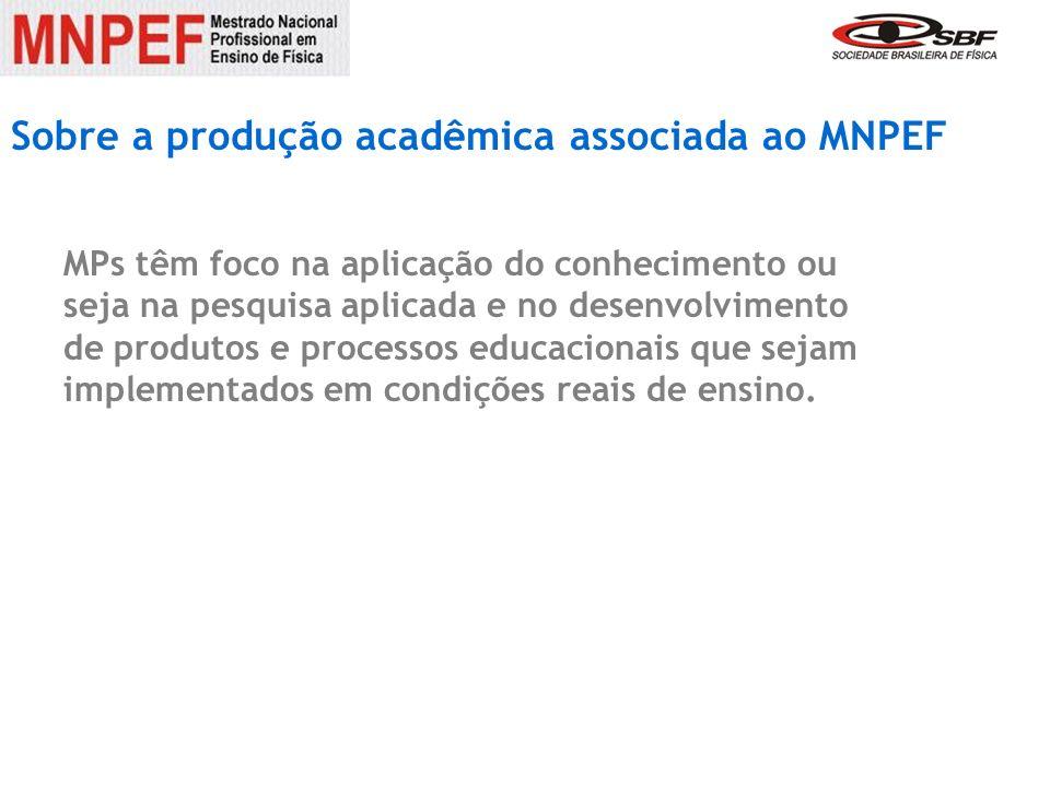 Sobre a produção acadêmica associada ao MNPEF desenvolvimento de produtos e processos educacionais MPs têm foco na aplicação do conhecimento ou seja na pesquisa aplicada e no desenvolvimento de produtos e processos educacionais que sejam implementados em condições reais de ensino.