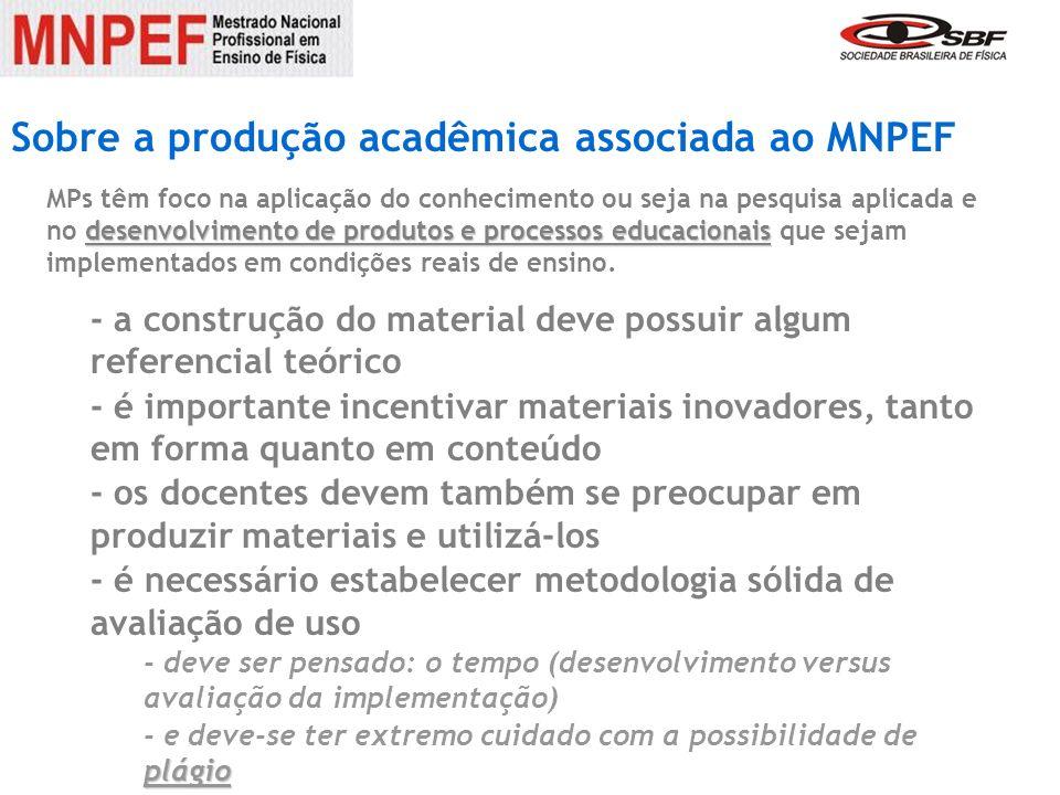 Sobre a produção acadêmica associada ao MNPEF Alguns MPs já existentes devem ser observados.