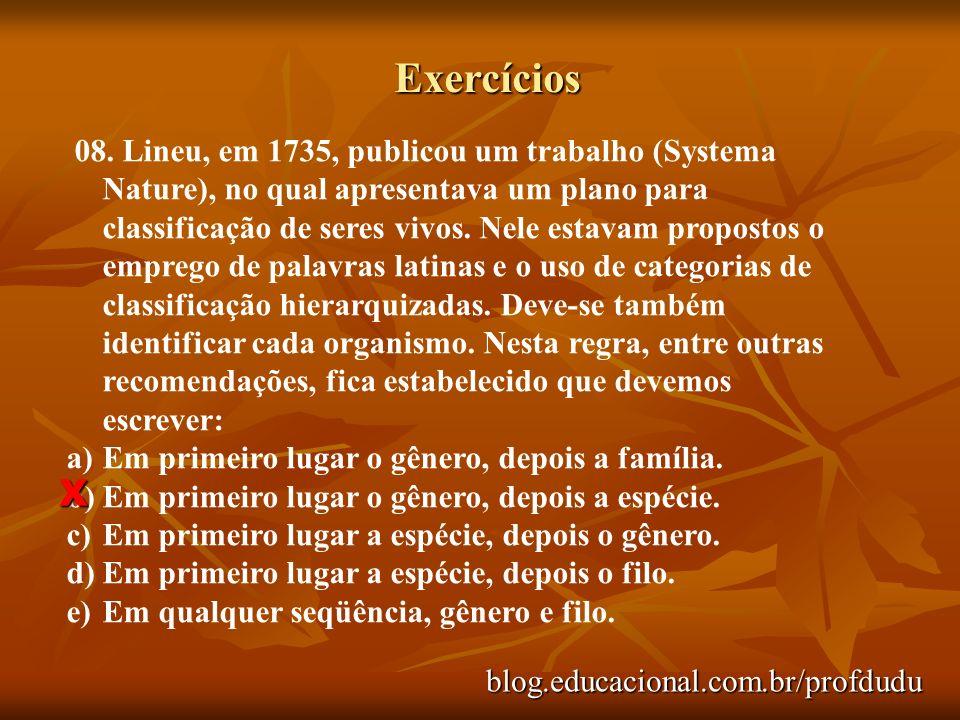 Exercícios blog.educacional.com.br/profdudu 08. Lineu, em 1735, publicou um trabalho (Systema Nature), no qual apresentava um plano para classificação