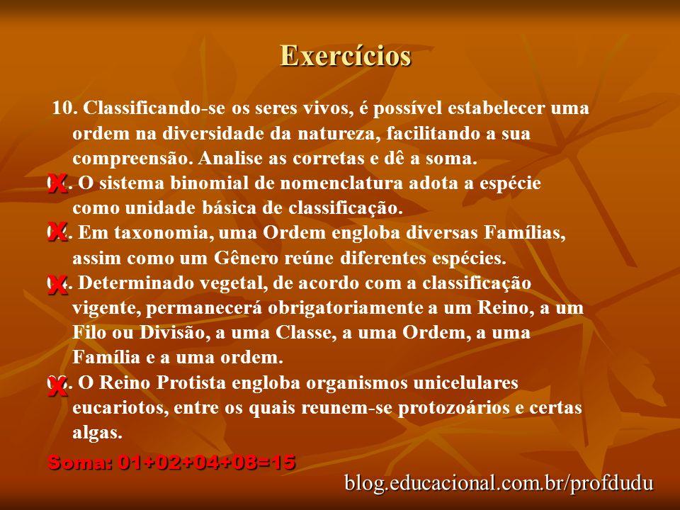 Exercícios blog.educacional.com.br/profdudu 10. Classificando-se os seres vivos, é possível estabelecer uma ordem na diversidade da natureza, facilita