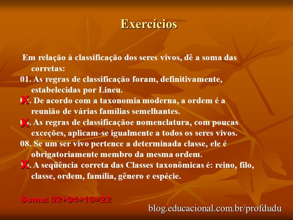 Exercícios blog.educacional.com.br/profdudu Em relação à classificação dos seres vivos, dê a soma das corretas: 01. As regras de classificação foram,