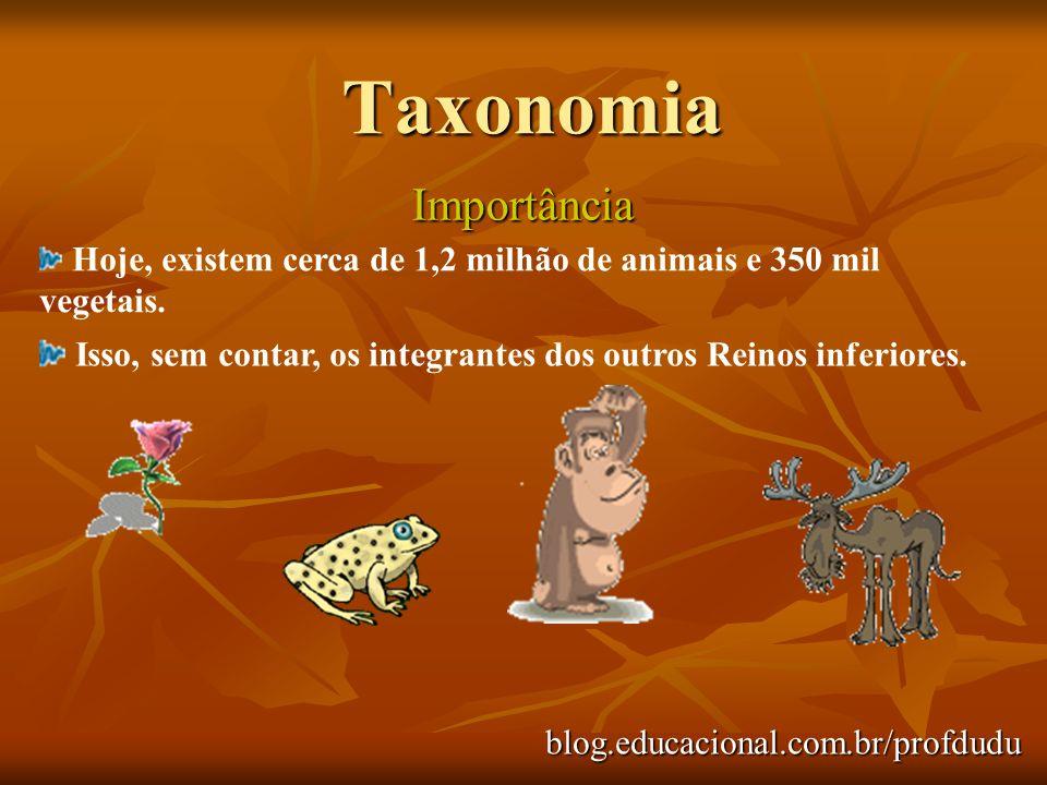 Taxonomia Importância blog.educacional.com.br/profdudu Hoje, existem cerca de 1,2 milhão de animais e 350 mil vegetais. Isso, sem contar, os integrant