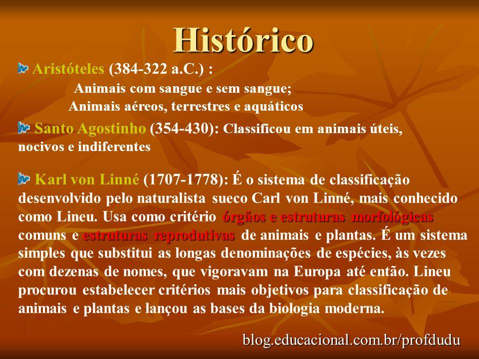 Histórico blog.educacional.com.br/profdudu Aristóteles (384-322 a.C.) : Animais com sangue e sem sangue; Animais aéreos, terrestres e aquáticos Santo Agostinho (354-430): Classificou em animais úteis, nocivos e indiferentes órgãos e estruturas morfológicas estruturas reprodutivas Karl von Linné (1707-1778): É o sistema de classificação desenvolvido pelo naturalista sueco Carl von Linné, mais conhecido como Lineu.