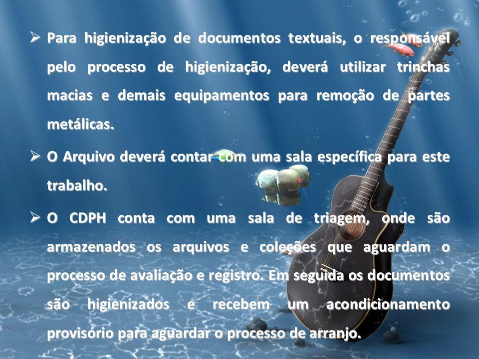 Para higienização de documentos textuais, o responsável pelo processo de higienização, deverá utilizar trinchas macias e demais equipamentos para remo